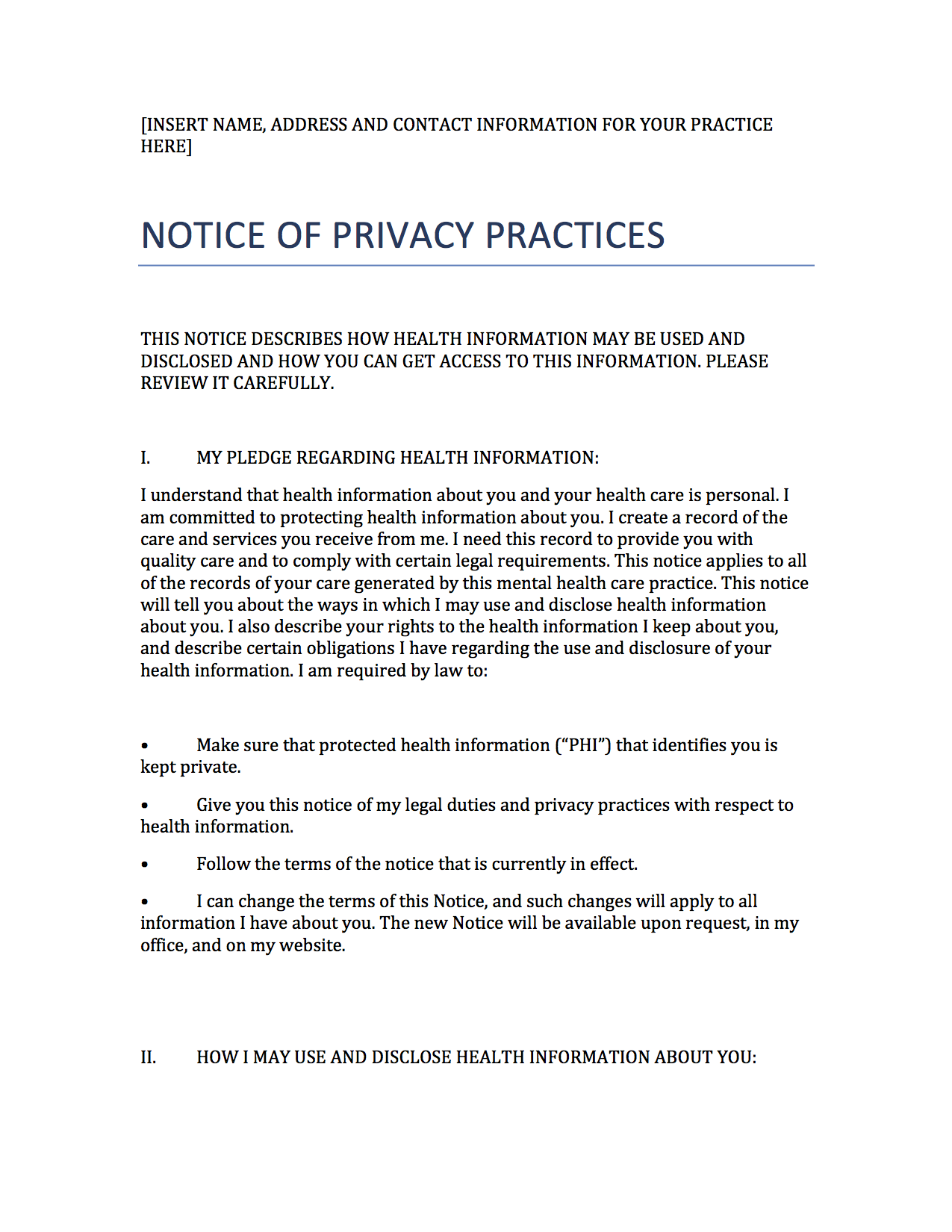 privacy policy sample