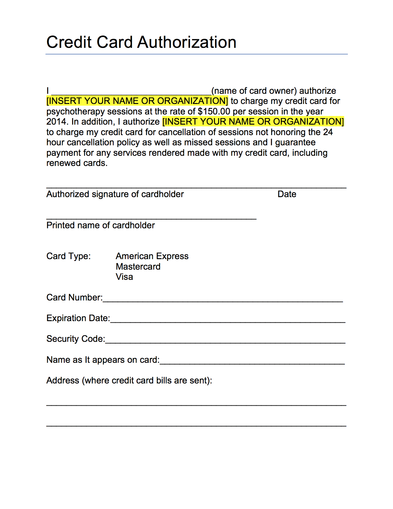 credit card authorization form template word credit card ...